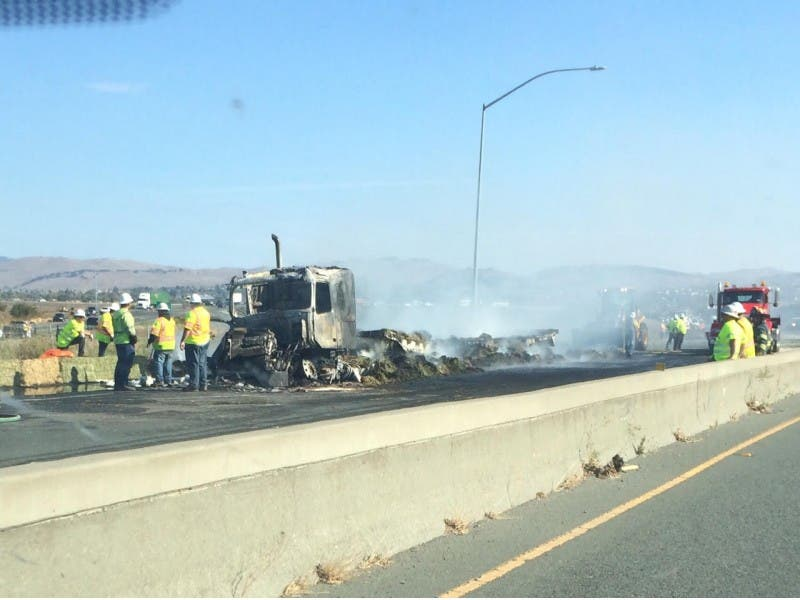 Two Big Rigs Catch Fire Snarl Friday Morning Commute