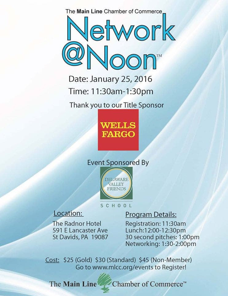 Delaware Valley Friends Sponsoring January Network@Noon with