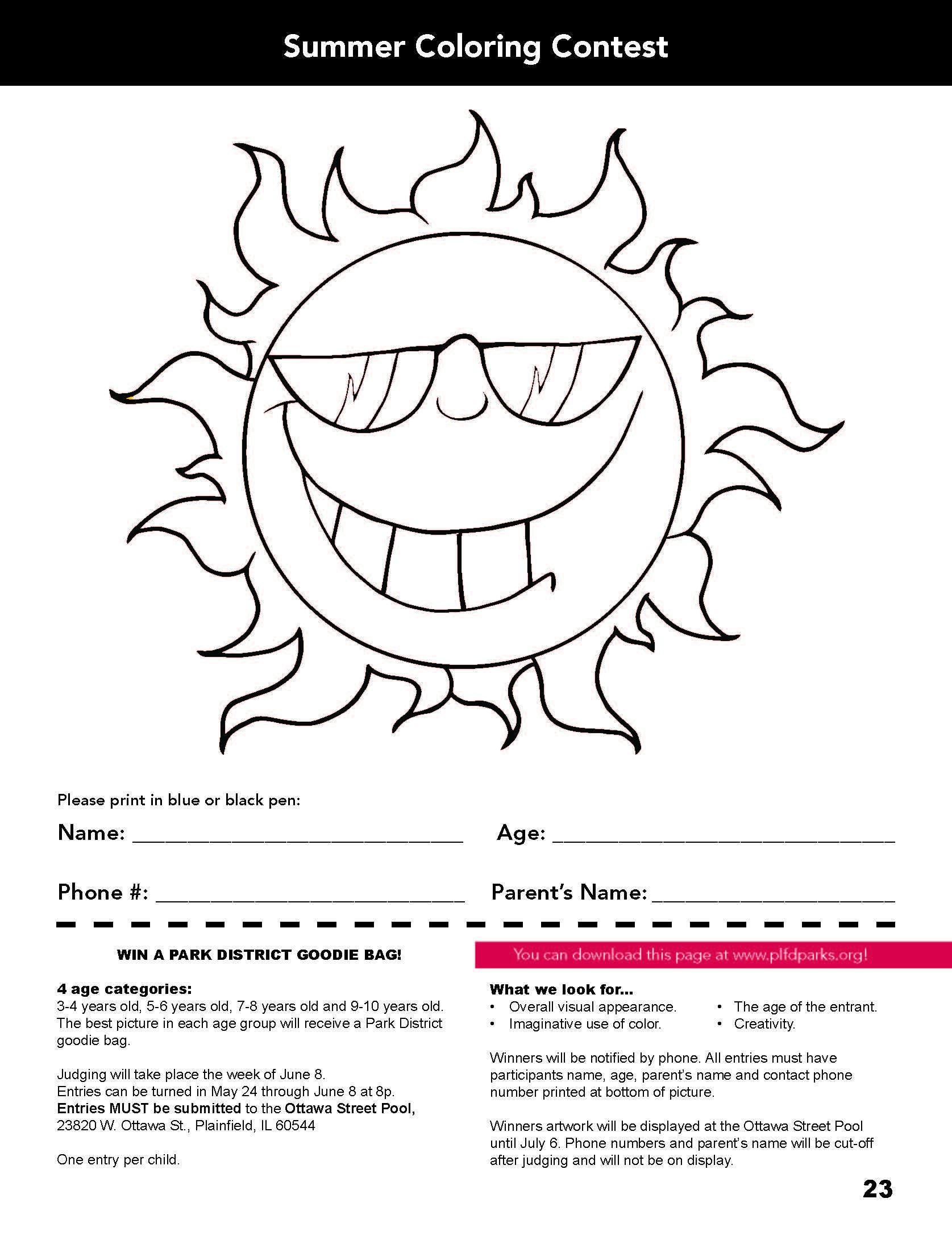 Kids! Enter Plainfield Park District Coloring Contest & Win a Park ...
