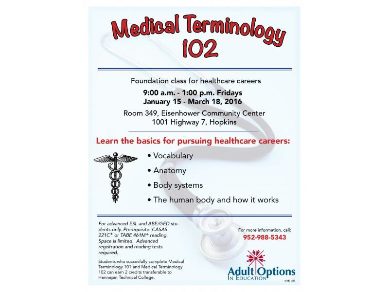 Medical Terminology 102 Hopkins Mn Patch
