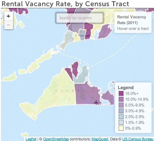 Map: What Vineyard Town Has the Most Vacant Rental Units