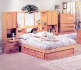 huge discount 4f0f3 77841 Queen Wall Storage Unit Headboard With Mirrors, Outlets ...