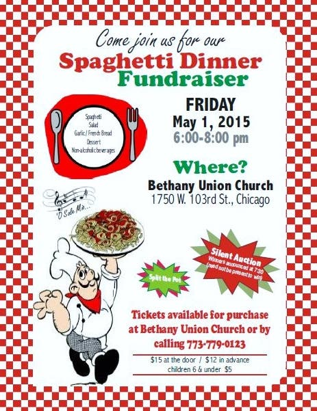 Bethany Union Church Spaghetti Dinner Fundraiser - Friday ...