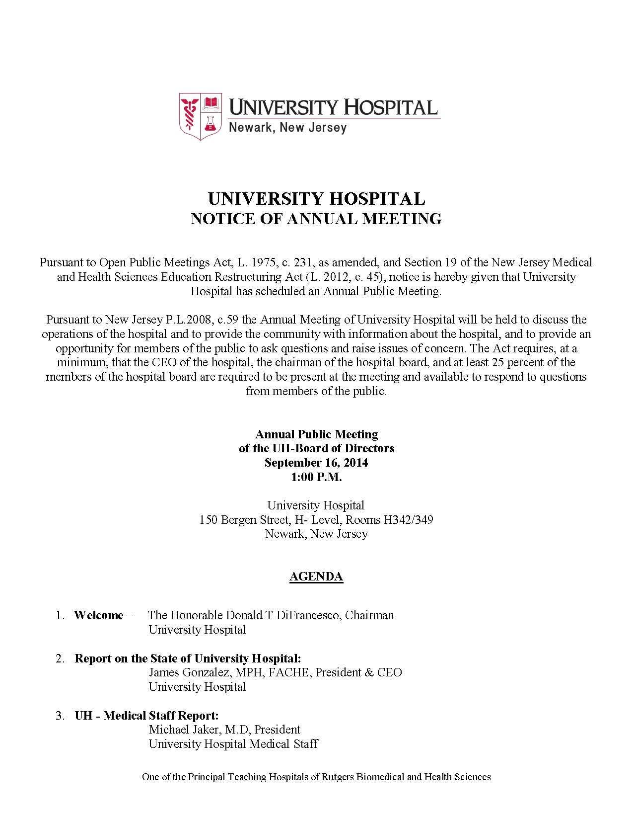 University Hospital Notice of Annual Public Meeting | Newark, NJ Patch