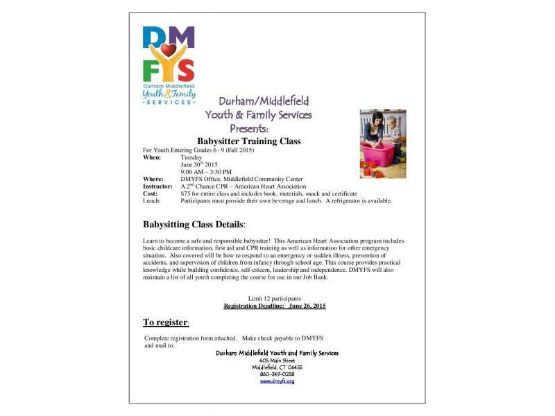Dmyfs To Offer Babysitter Training Durham Ct Patch