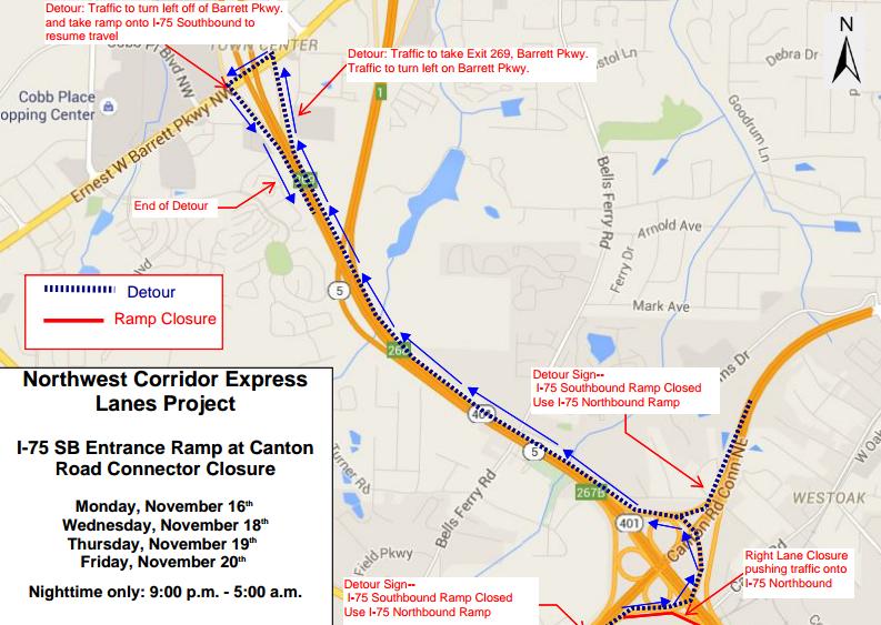 Traffic Alert: Lane Closures Planned For I-575 in Cherokee