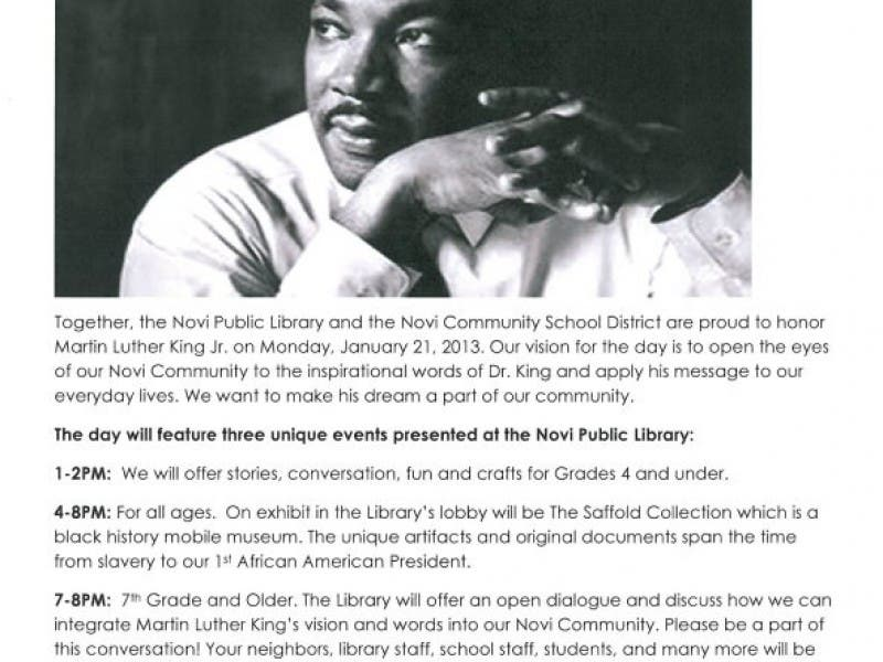 Honoring Martin Luther King Jr At Novi Public Library Novi Mi Patch