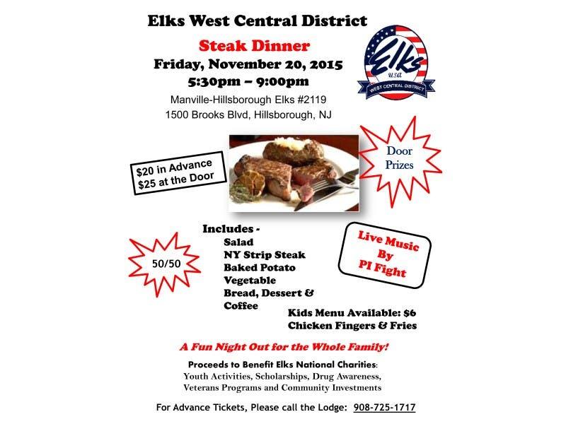 manville hillsborough steak dinner fundraiser to benefit elks