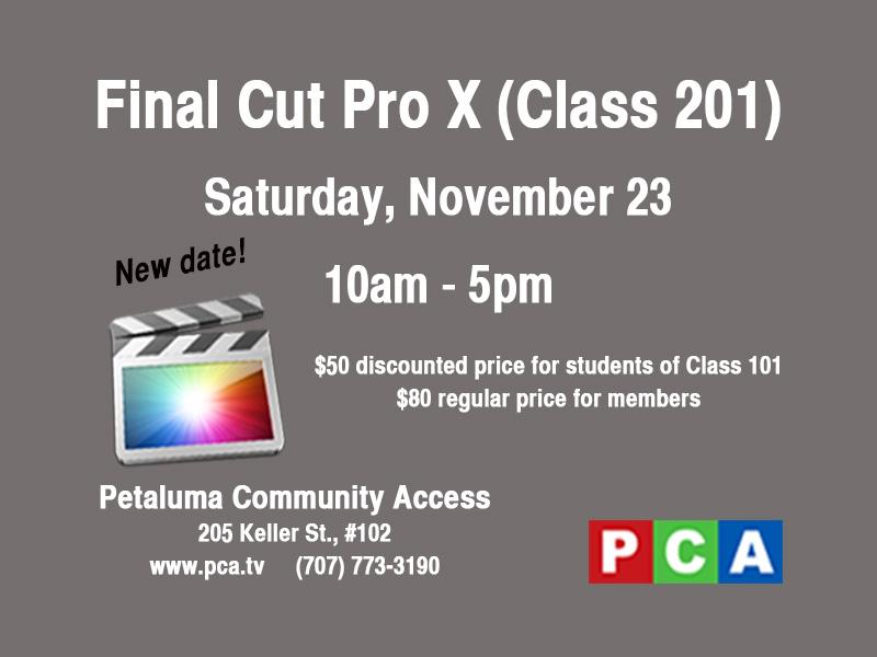 Final Cut Pro X class at Petaluma Community Access