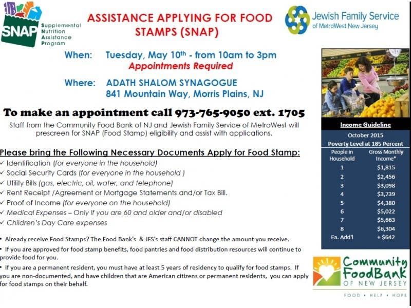 Assistance Applying For Food Stamps Snap Morris Township Nj Patch