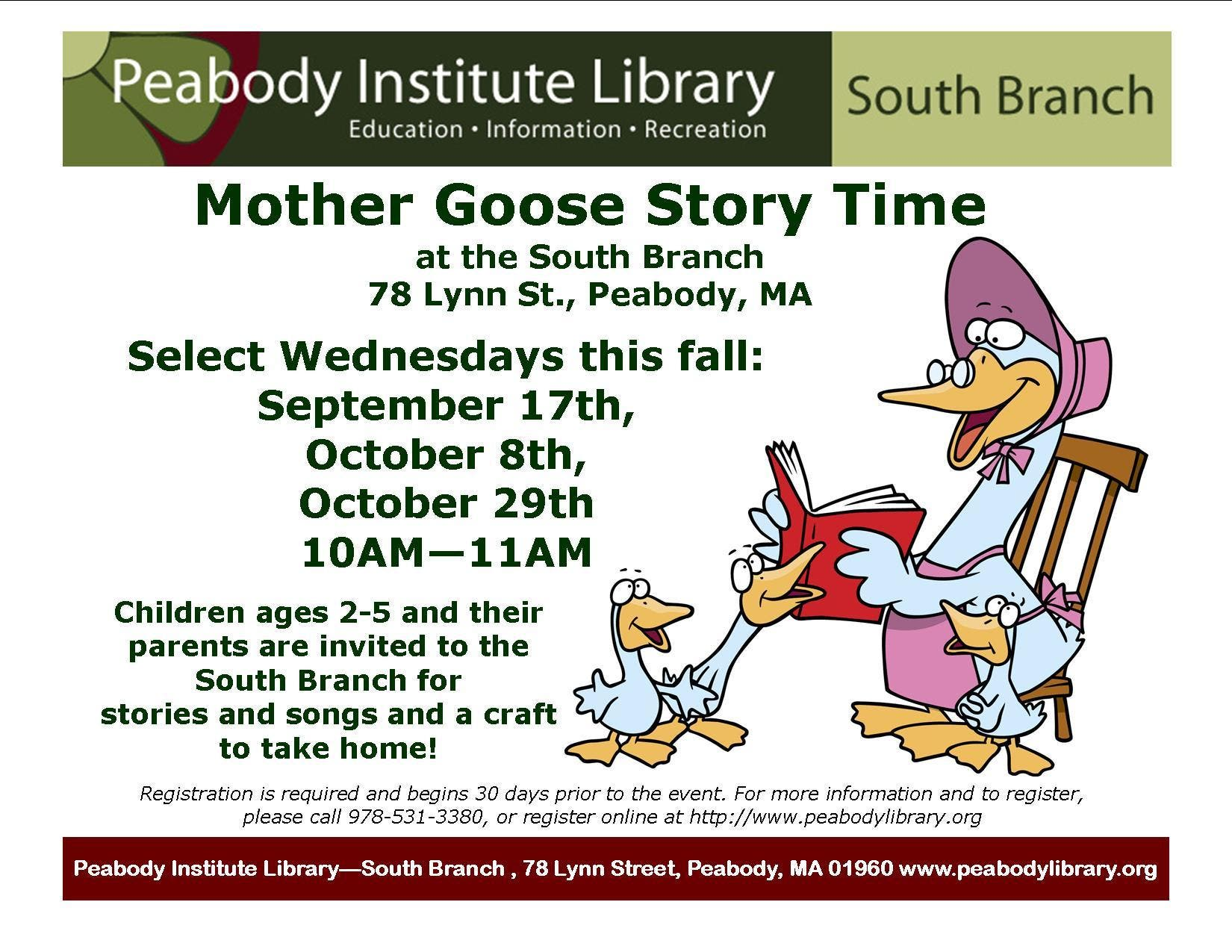 Mother Goose Story Time at the South Branch | Peabody, MA Patch