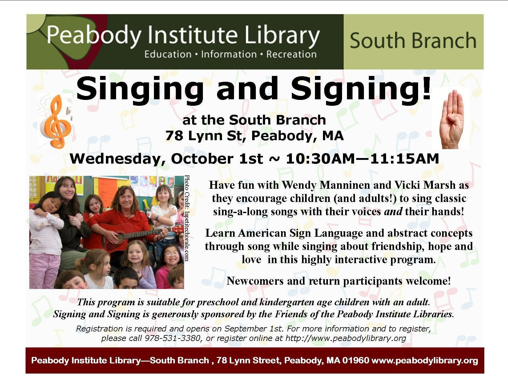 Singing And Signing Is Back At The South Branch Peabody Ma Patch