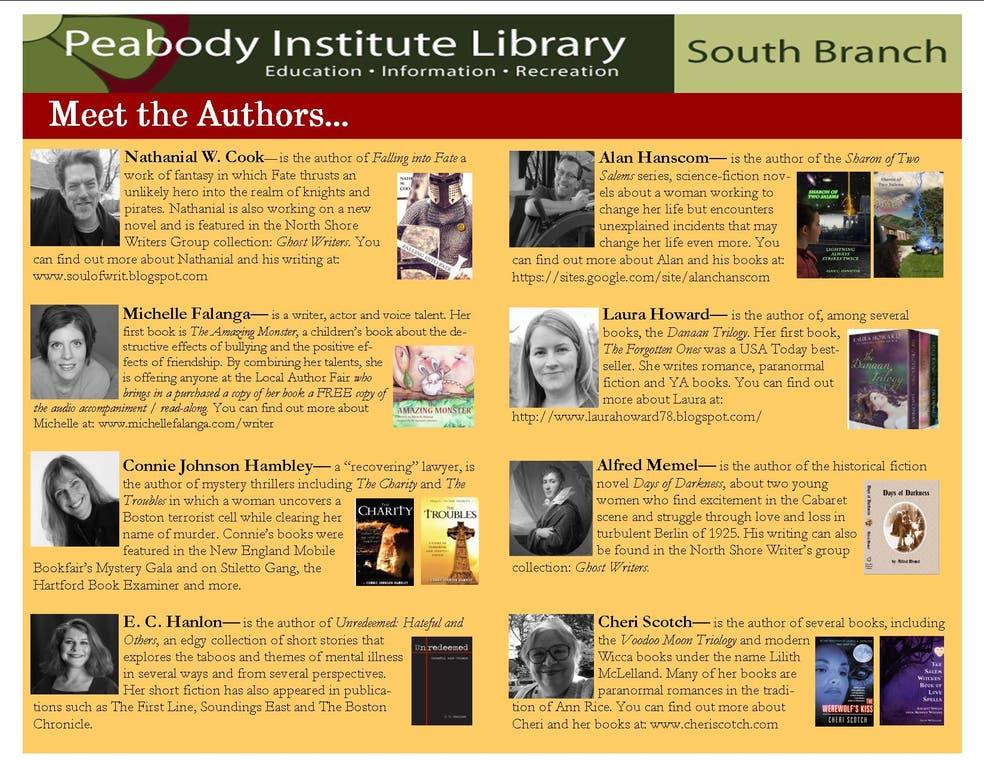 Local Author Fair at the South Branch | Peabody, MA Patch