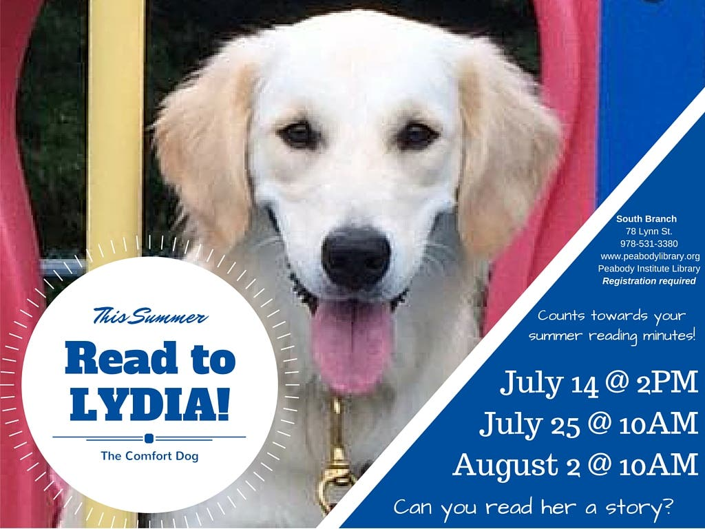 Read to Lydia the Comfort Dog this summer at the Peabody Library's