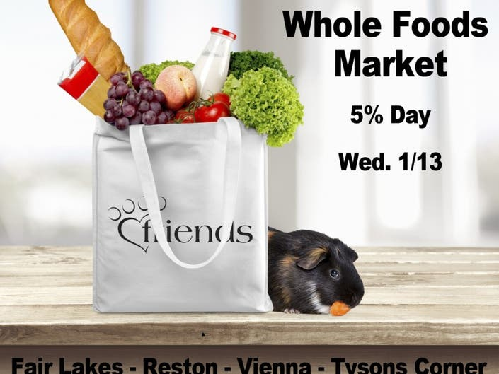 Whole Foods Gives 5% to Shelter Pets Jan  13! | Chantilly