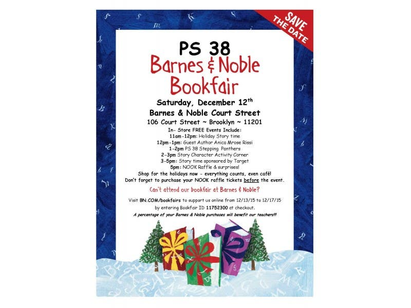 ps 38 annual barnes noble holiday bookfair is tomorrow 121215