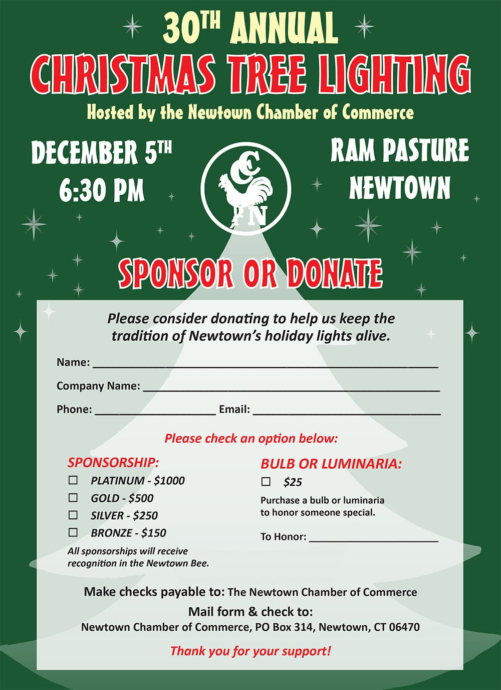 Christmas Lights Newtown, Ct 2020 Help Light Up the Town at the 30th Annual Christmas Tree Lighting