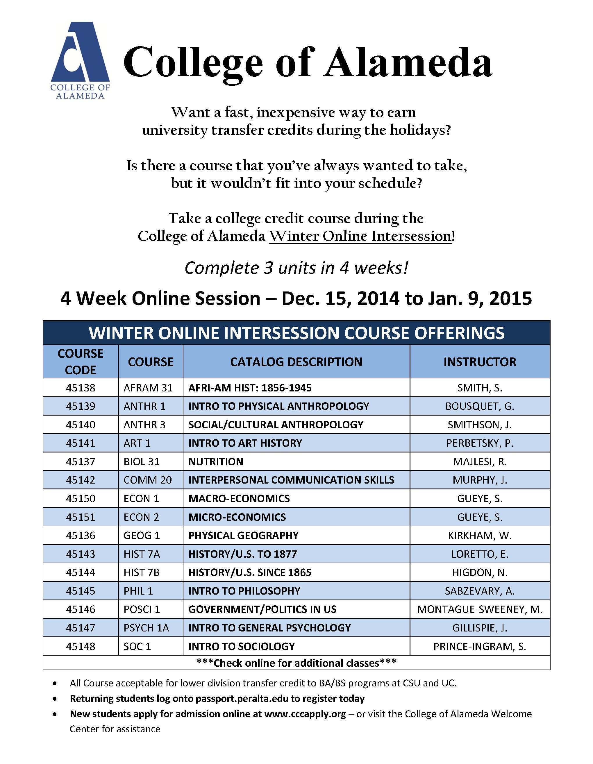 College of Alameda 4 Week Winter Online Session! Enroll TODAY