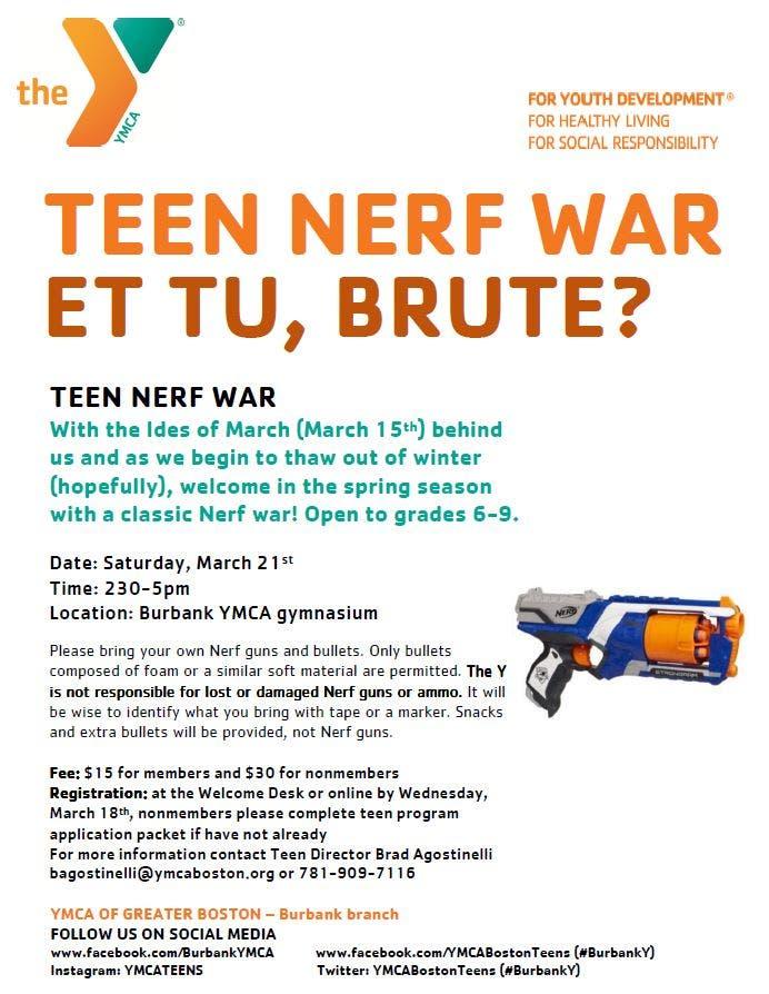 Burbank Reading Ymca Teen Program Nerf War And Teen Fitness Classes Stoneham Ma Patch