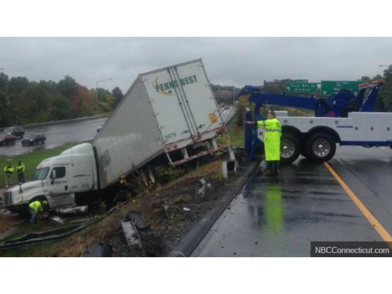 Tractor-Trailer Totaled in Crash on I-84 East in West