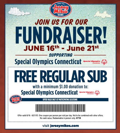 graphic about Jersey Mikes Printable Coupons named Aid One of a kind Olympics and Choose a Free of charge Sub at Jersey Mikes