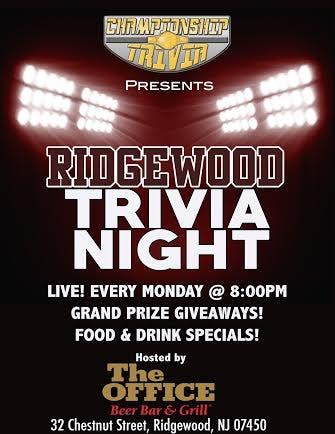 Championship Trivia Presents 'Ridgewood Trivia Night' Every