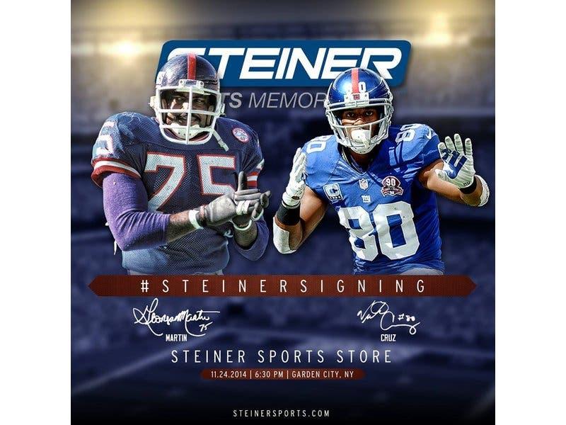 Steiner Sports hosts Champs Victor Cruz and George Martin at Steiner Store  on Monday Nov. d98cbd6ee