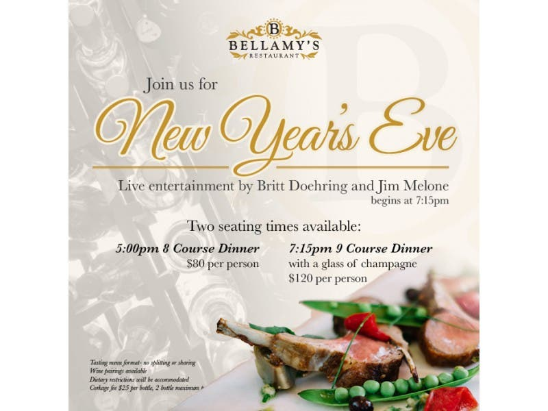 Bellamys New Years Eve Dinner La Jolla Ca Patch