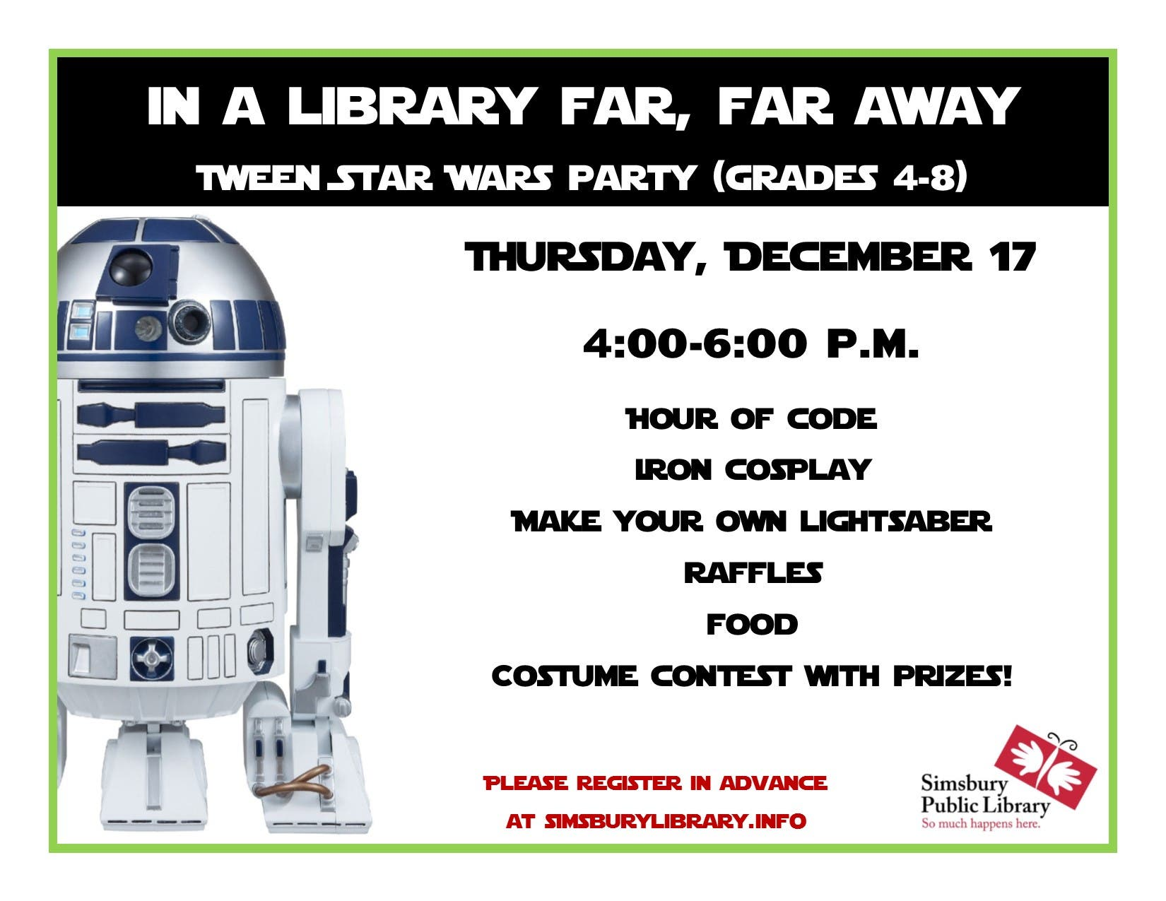 In a Library Far, Far Away: Tween Star Wars Party @ Simsbury Public
