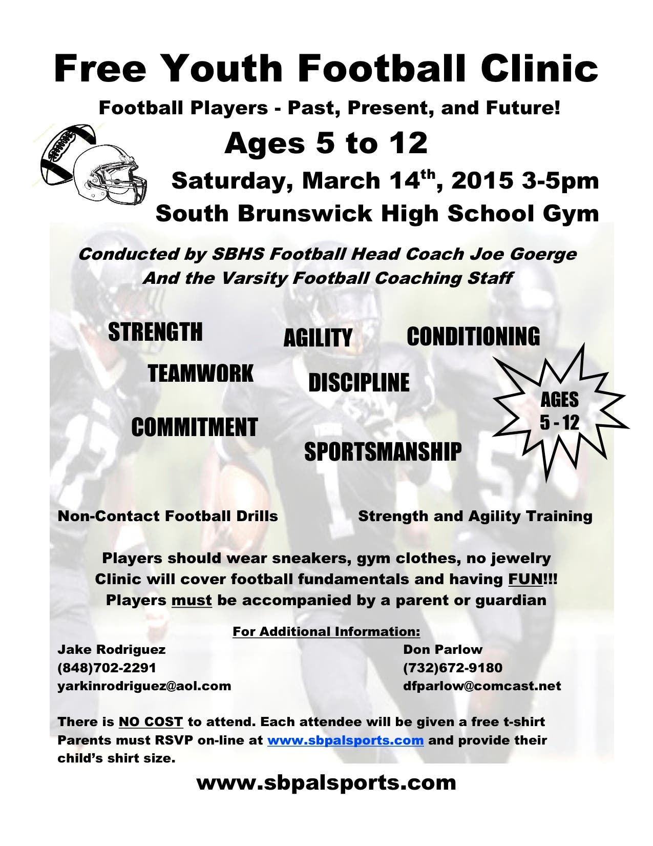 FREE South Brunswick Youth Football Clinic Hosted by SBHS Varsity