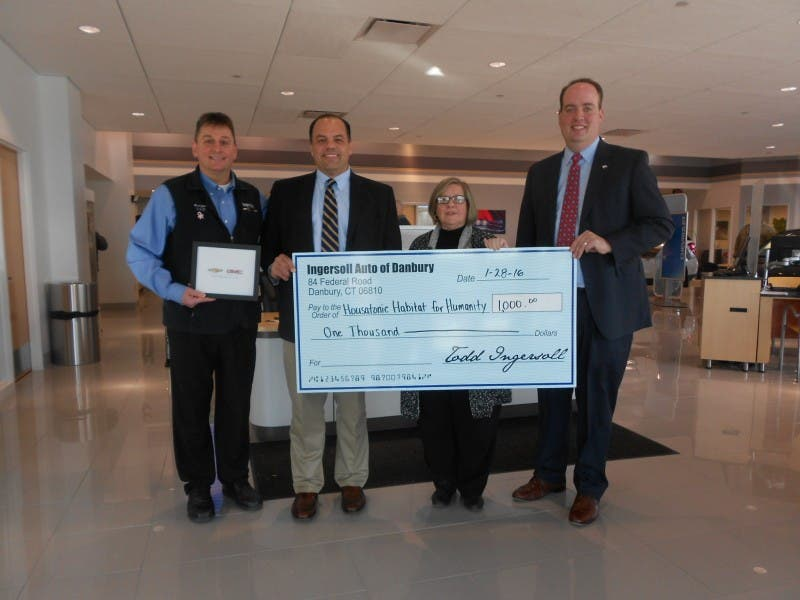 Ingersoll Auto Of Danbury Ct Donates To Housatonic Habitat For