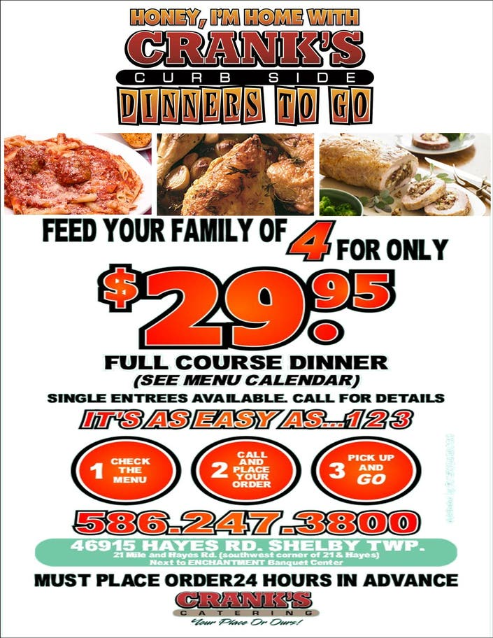 crank u0026 39 s catering introduces  family dinners to go