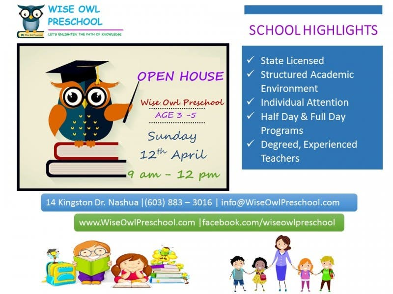 Open House At Wise Owl Preschool Nashua On Sunday 12th April