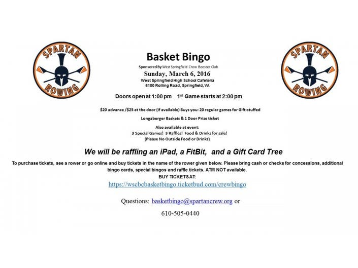 You Dont Want To Miss Spring Basket Bingo By West Springfield High Crew Team Boosters Sunday March 6