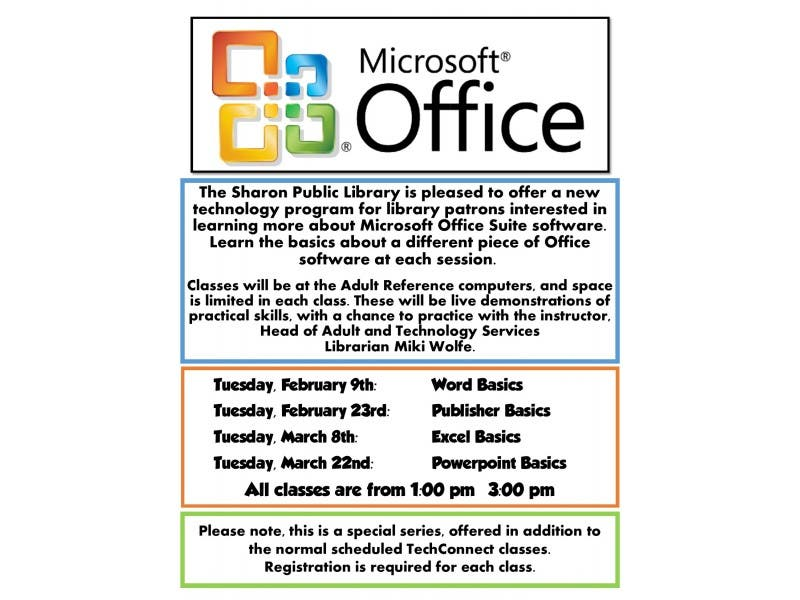 Sharon Public Library Offers Microsoft Office Suite Program Sharon