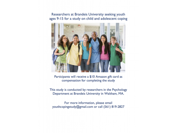Researchers at Brandeis University seeking youth ages 9-15 to