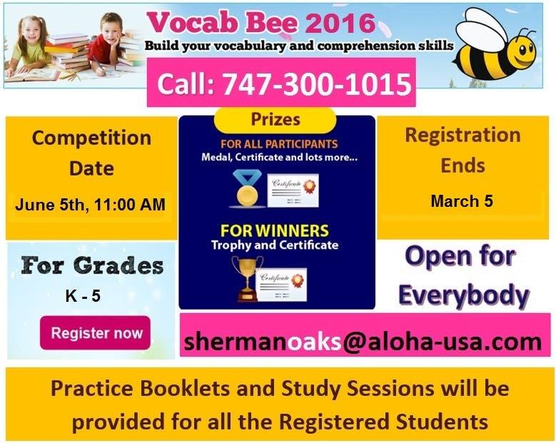 ALOHA Olympiad 2016 - Math and English Vocab Bee Contest