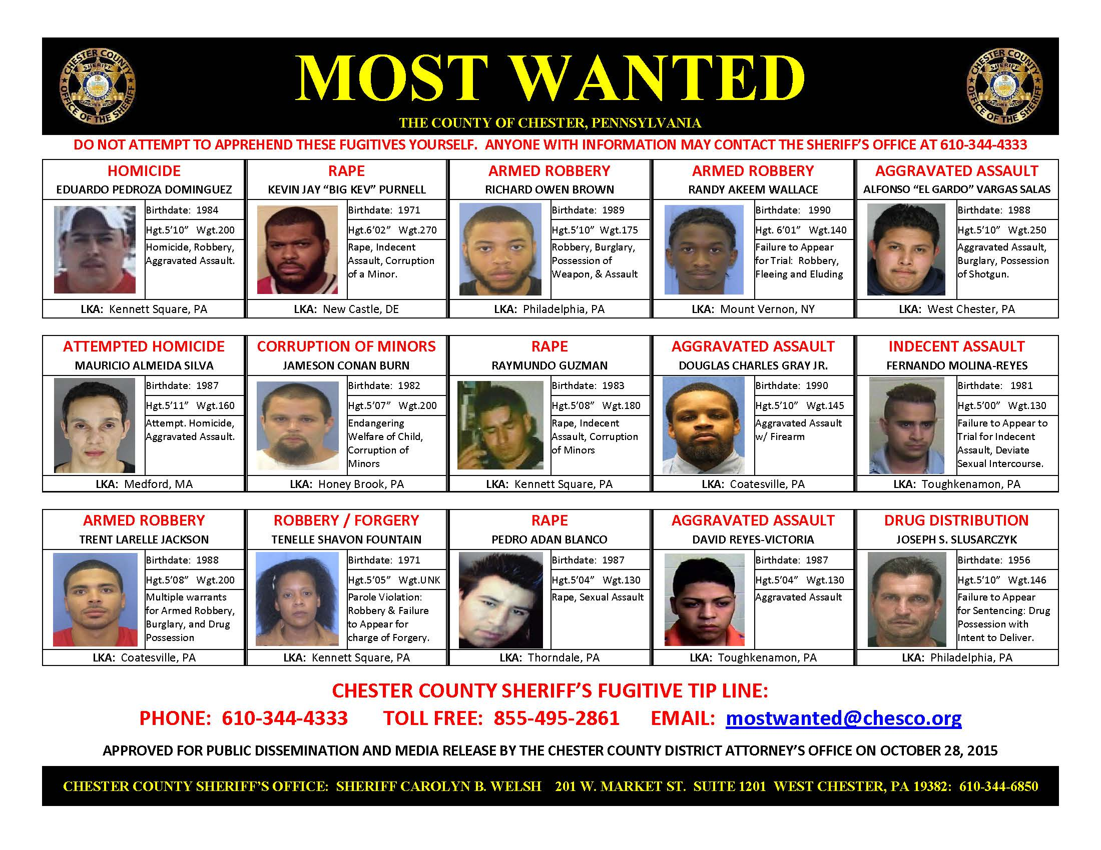 Chester County Updates 'Most Wanted' List | Phoenixville, PA