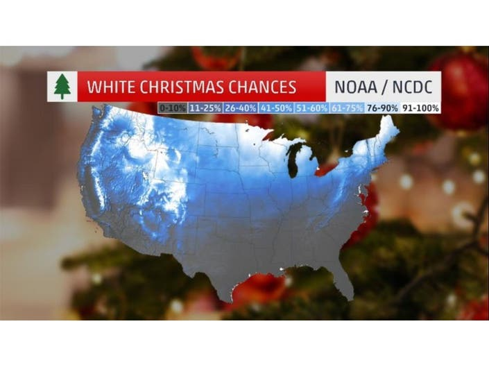 This Map Shows Chance Of a White Christmas In Phoenixville ... Chances Map on