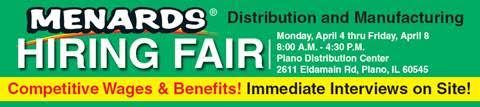Menards to Hold 5-Day Job Fair in Plano | Yorkville, IL Patch