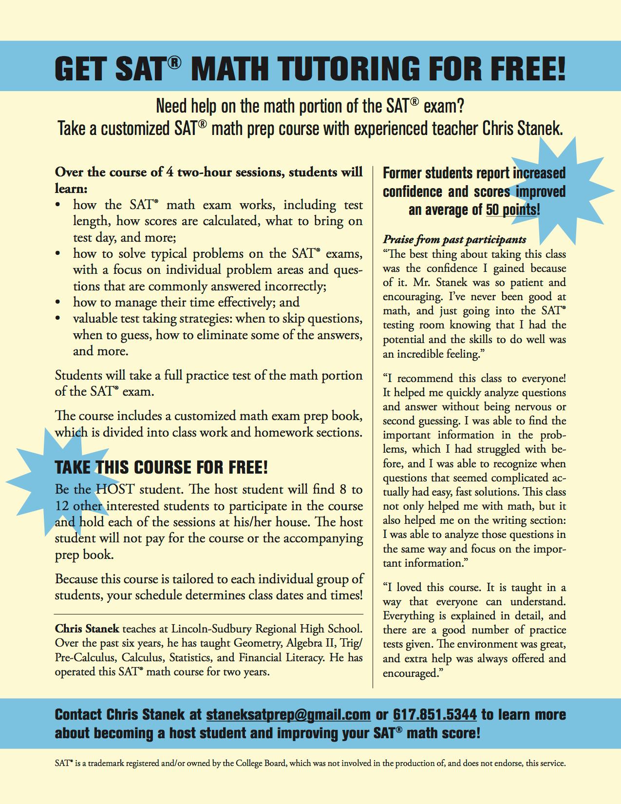SAT Math Prep Course | Holliston, MA Patch