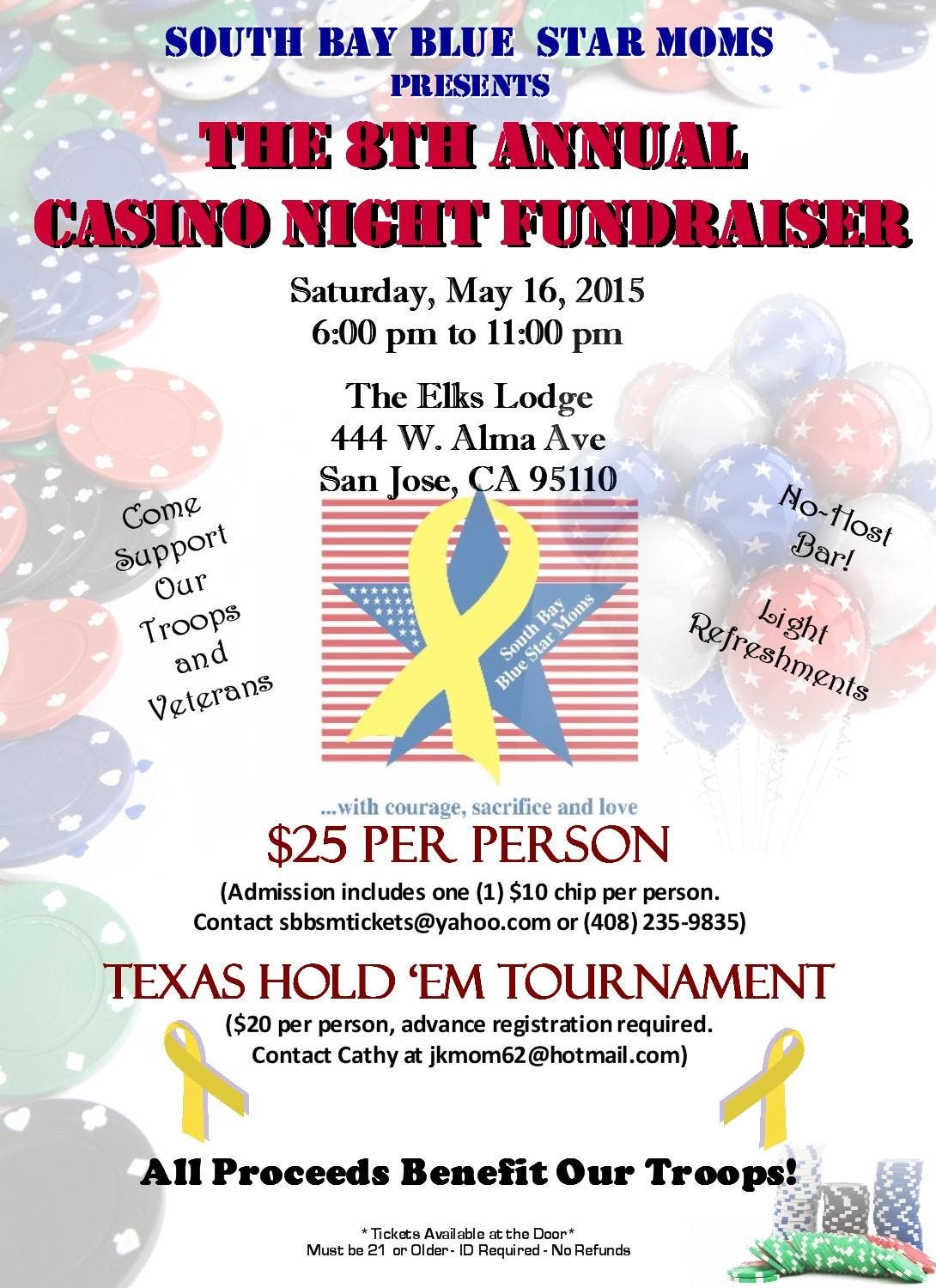 CASINO NIGHT TO SUPPORT THE TROOPS - South Bay Blue Star Moms