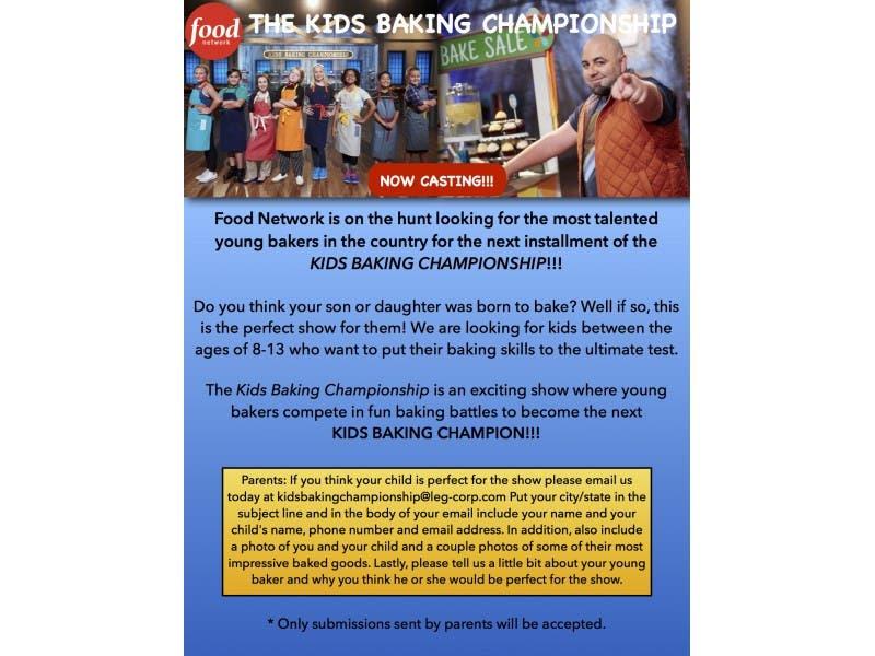 Food Network Kids Baking Championship Casting Now Goose Creek
