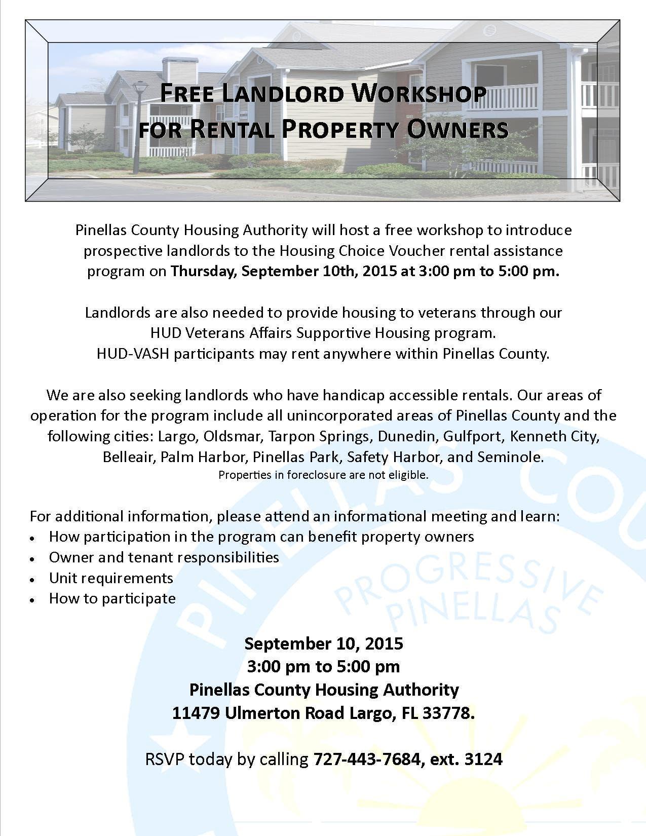 Free Landlord Workshop for Rental Property Owners | Largo