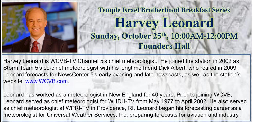 WCVB Chief Meteorologist Harvey Leonard to Speak at Temple Israel