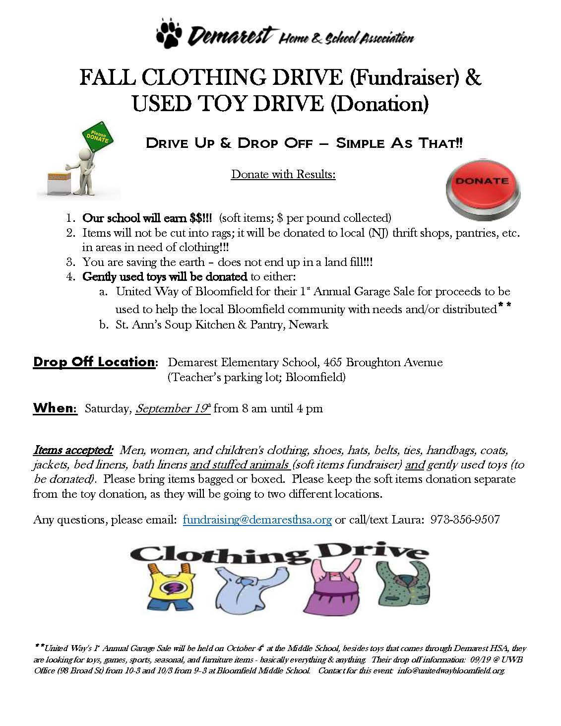 FALL CLOTHING DRIVE (Fundraiser) and USED TOY DRIVE (Donation)