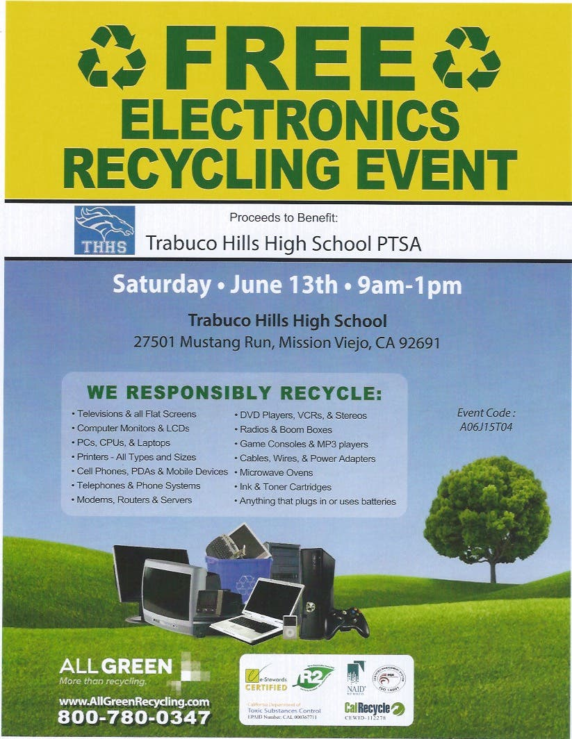 Free Electronics Recycling Event Lake Forest Ca Patch