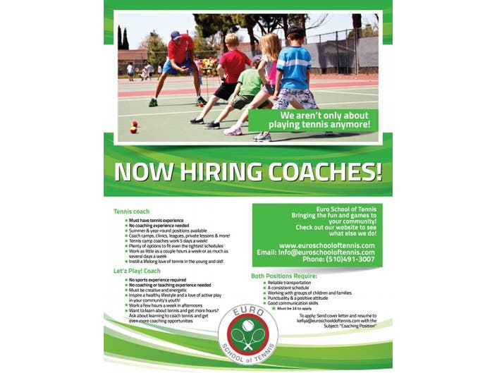 Looking for Tennis Coaches! | Fremont, CA Patch