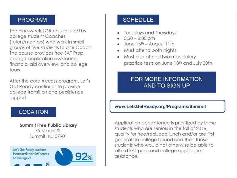 LET\u0027S GET READY-FREE SAT PREP Summit, NJ Patch