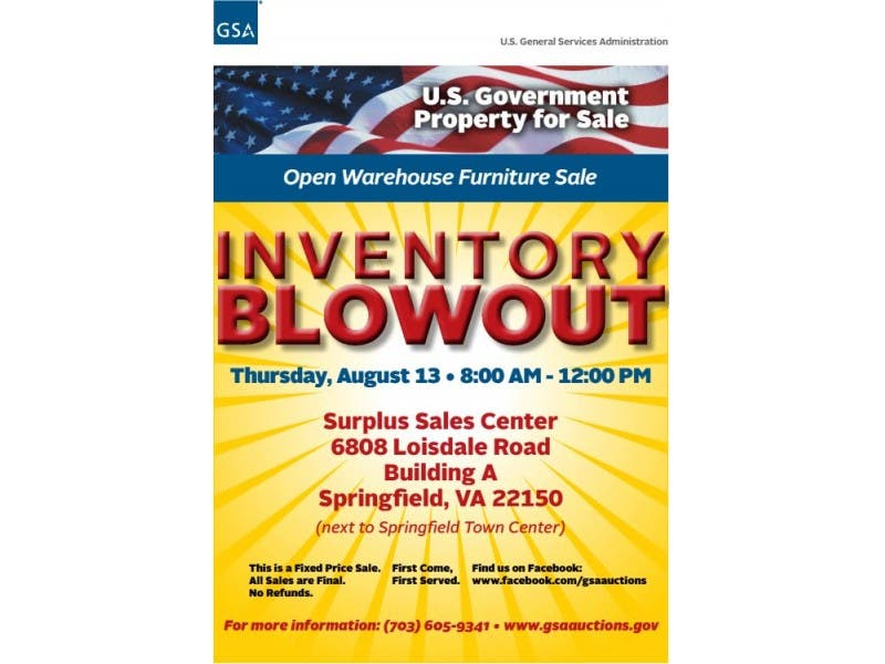 Gsa Will Host Special Public Sales Event At Springfield Warehouse On